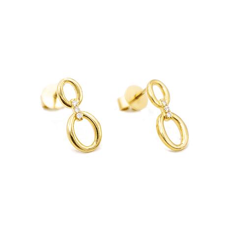 Aros de Diamante en Oro de 18 Kt con 6 Brillantes