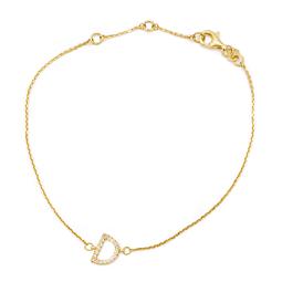 """Pulsera de Diamante en Oro 18 Kt con 14 brillantes letra """"D"""""""