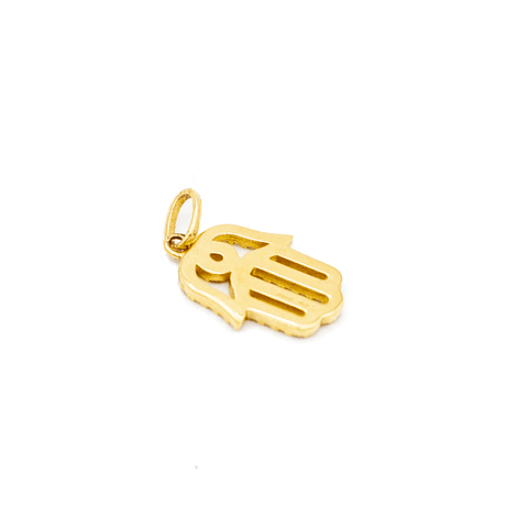 Colgante de Diamante en Oro 18 Kt Mano de Fátima con 50 Brillantes