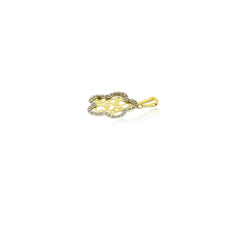 Colgante Oro 18kt Flor Filigramas y Circones