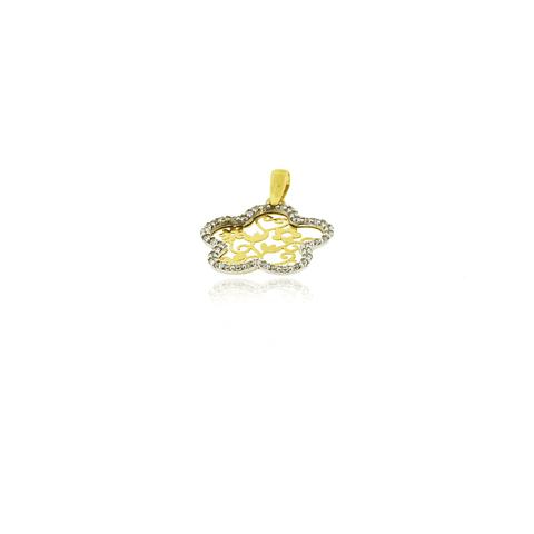 Colgante Oro 18kt Flor Filigranas y Circones