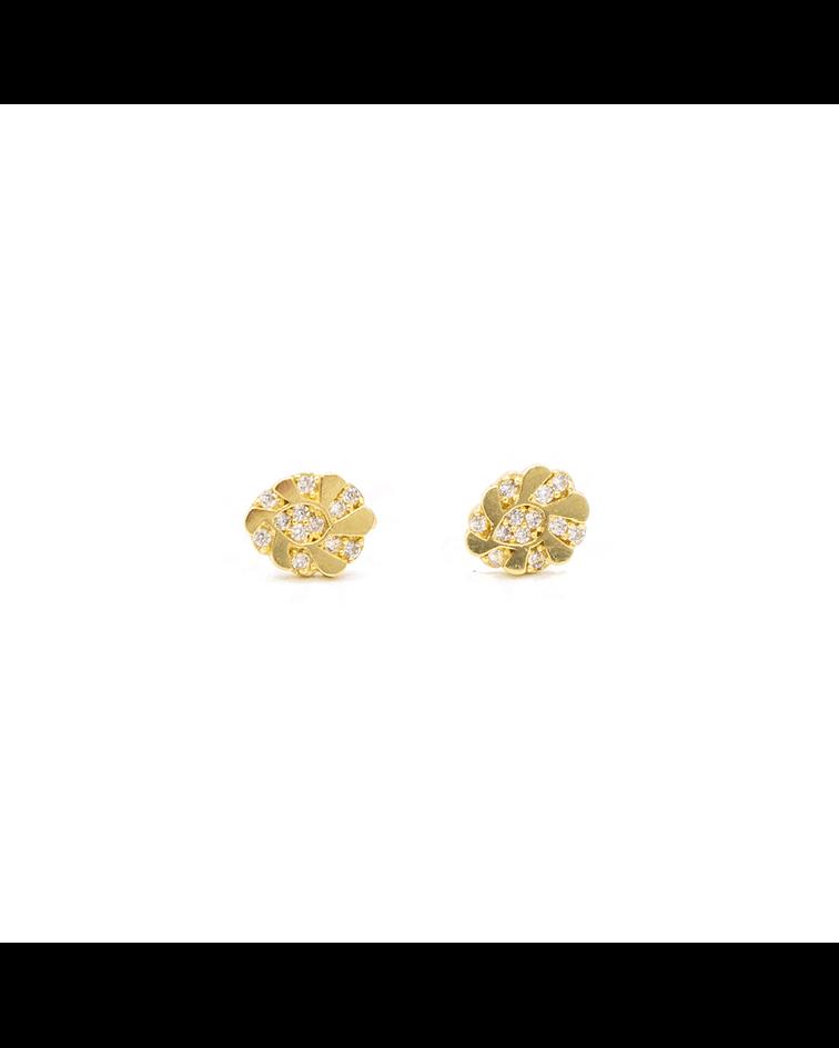 Aros de Oro 18 Kts., Modelo Circón