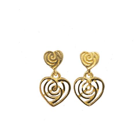 Aros de Oro de 18 Kts., Modelo Corazón Colgante 1,5 grs.