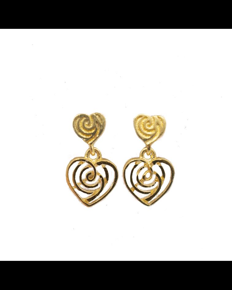 Aros de Oro de 18 Kts.,  Corazón Colgante