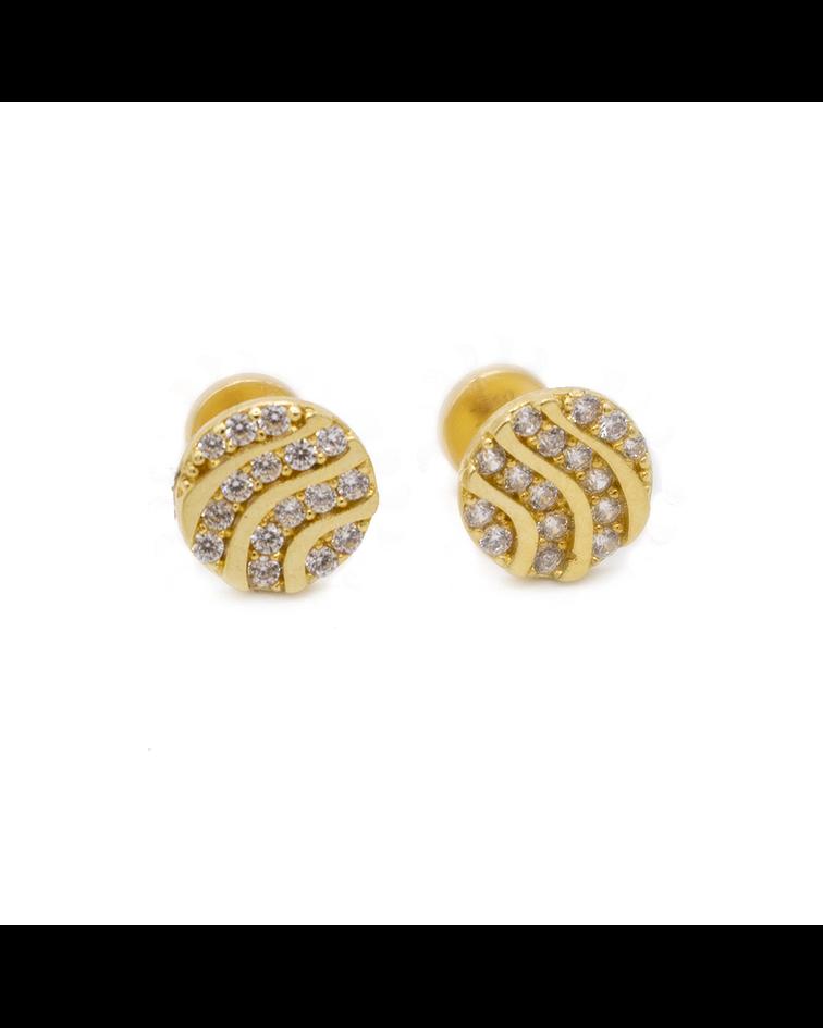 Aros de Oro de 18 Kts., Modelo Circón