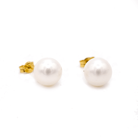Aros de Oro Kts., Perla Cultivada 9.0 mm 2,8 grs.