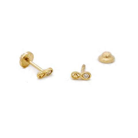 Aros de Oro 18 Kts., Modelo Infinito con Circón 0,8 grs.