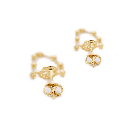 Aros de Oro 18 Kts., Modelo Mano de Fátima con Cadenita