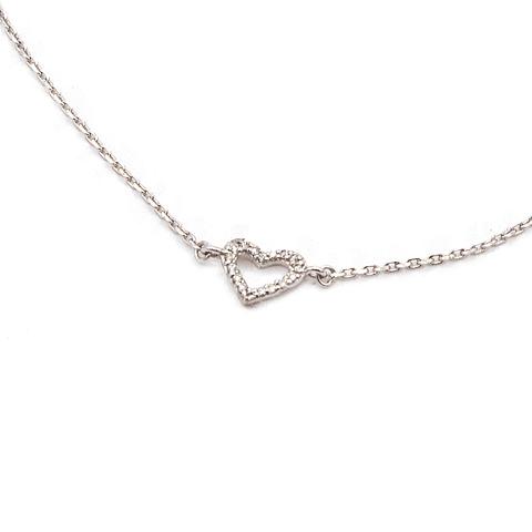 Pulsera de Diamantes Oro 18 Kts., con Corazón 1,6 grs.