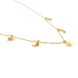 Collar de Oro 18Kts., Modelo 3 Estrellas y 2 Lunas 1.0 grs.
