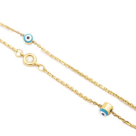 Pulsera de Diamantes con Ojo Turco Oro 18 Kts.