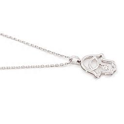 Collar de Diamantes Mano de Fátima Oro de 18 Kts., con un peso de 2,9 grs.