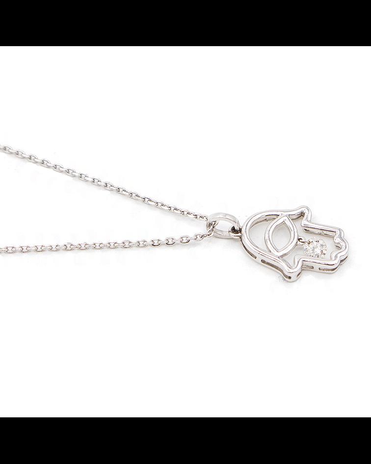Collar Diamantes Mano de Fátima Oro de 18 Kts.