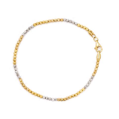 Pulsera de Oro de 18 Kts., Modelo Bolitas Tricolor