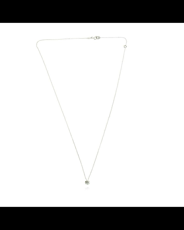 Collar Oro Blanco 18kt Circon 4.0mm Punto de Luz