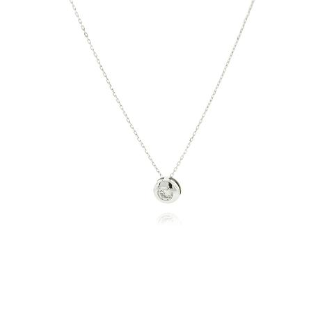 Collar Oro Blanco 18kt Circon Punto de Luz 15PTS