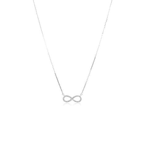 Collar Oro Blanco 18kt Diamantes infinito