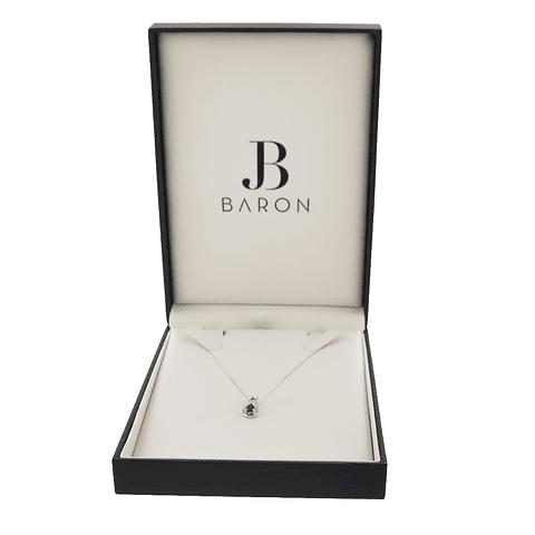 Collar Oro Blanco 18kt 5pts Diamantes, Zafiro 0,48ct