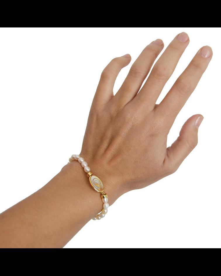 Pulsera Oro 18kt Virgen Niña Perlas y Nacar