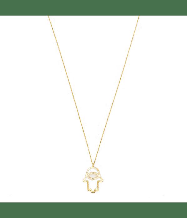 Collar de Diamante Oro 18 Kts. Modelo Mano de Fátima