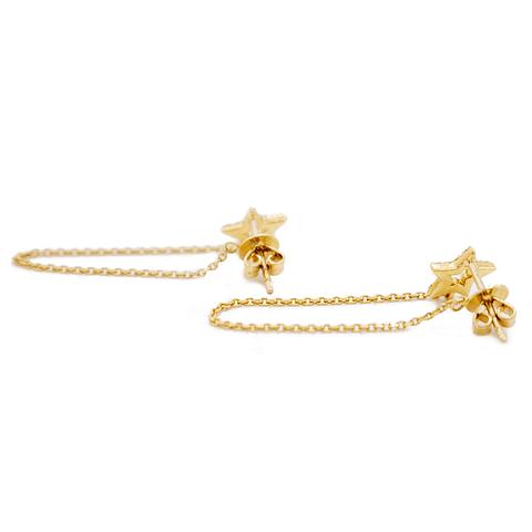 Aros de Diamante Oro de 18 Kts. Modelo Estrella y Cadena