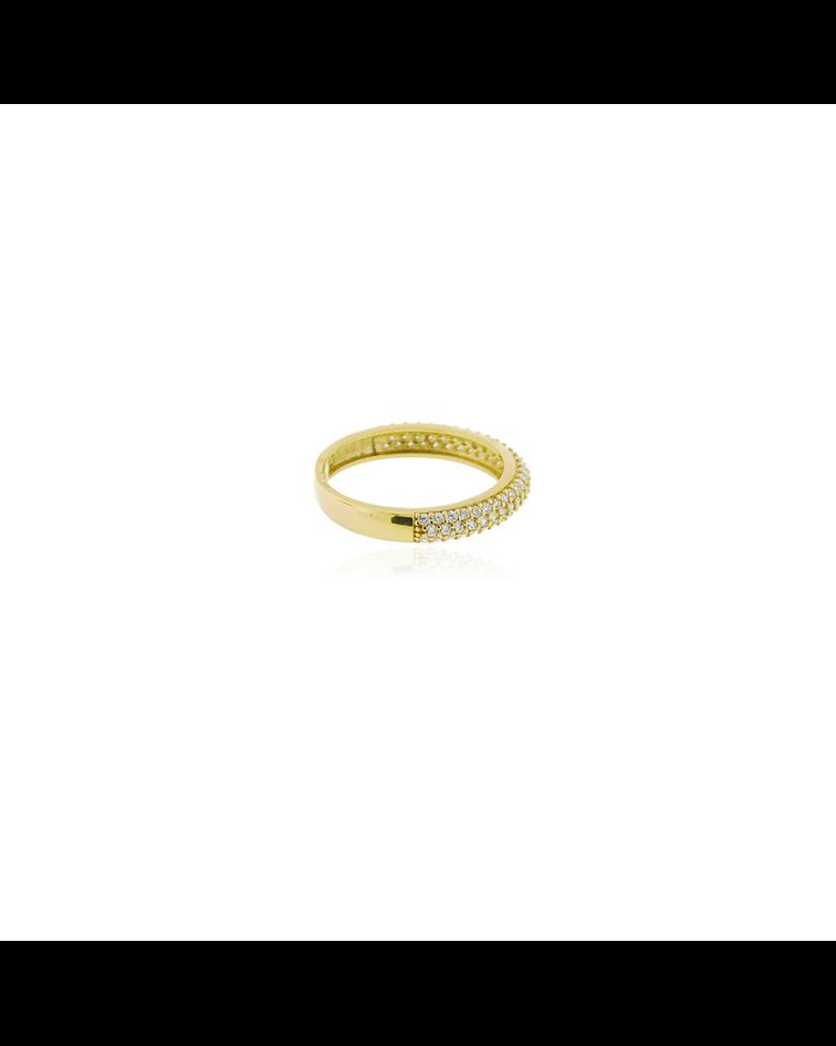 Anillo Oro 18kt Medio Cintillo Triple Circon