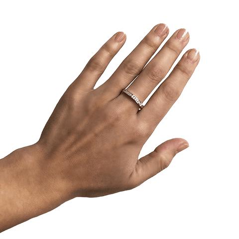 Anillo Oro Blanco 18kt Riel Diamantes