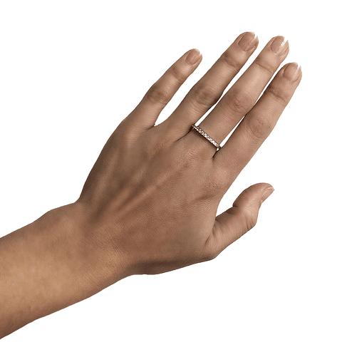 Anillo Oro Blanco 18kt Diamantes Medio Cintillo