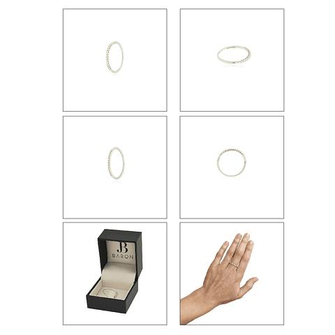 Anillo Oro Blanco 18kt Diamantes Medio Cintillo 12Pts