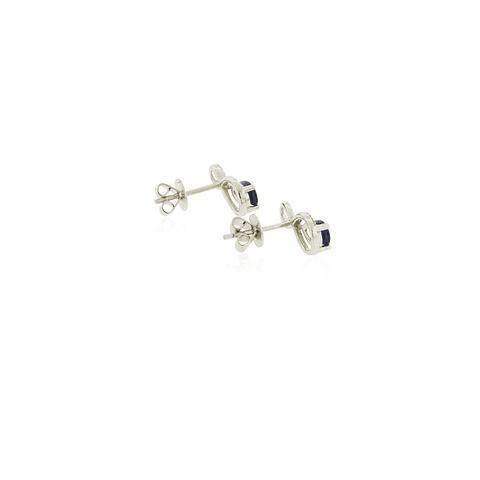 Aros Oro Blanco 18kt 7pts Diamantes, Zafiro 0,90ct