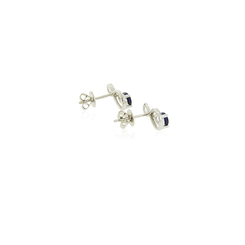 Aros Oro Blanco 18kt 7pts Diamantes, Zafiro 0,90ct