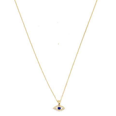 Collar de Diamante Oro de 18 Kts. Modelo Ojo Zafiro Natural.