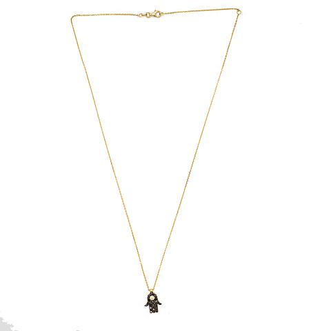 Collar de Diamante Oro 18 Kts. Mano de Fátima Diamantes Negros