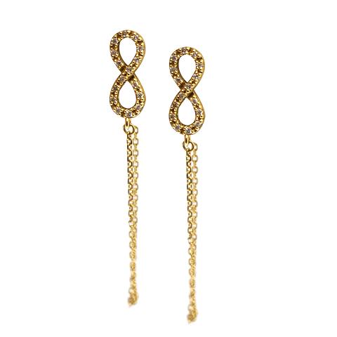 Aros de Diamante Oro de 18 Kts. Modelo Infinito y Cadena