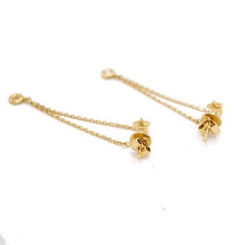 Aros de Diamante Oro 18 Kts. Estrella  Colgante 6pts.