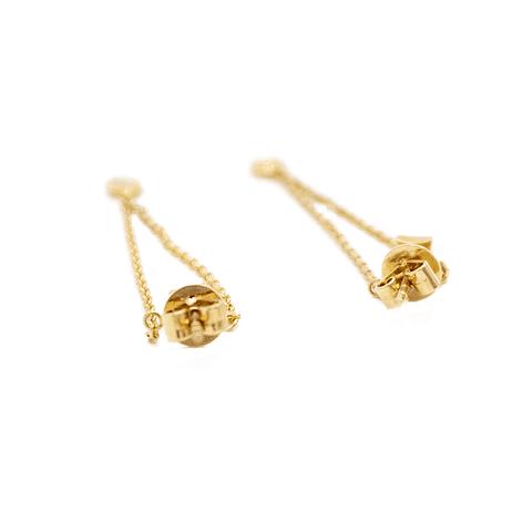 Aros de Diamante Oro 18 Kts. Modelo Rombo y Brillante Colgante