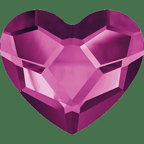 HEART FLAT BACK FUCHSIA 14 MM