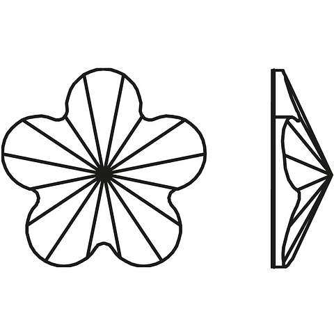 FLOWER AURORA JET - FLAT BACK - 6 mm