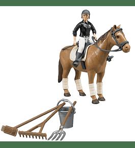 Cavaleira com Cavalo e Acessórios