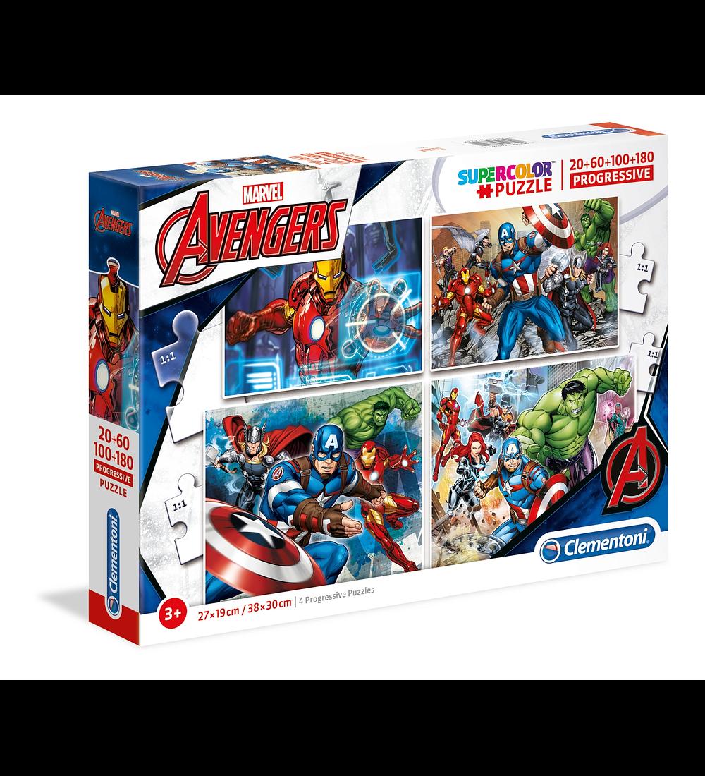 Puzzle 20 + 60 + 100 + 180 pçs - Avengers