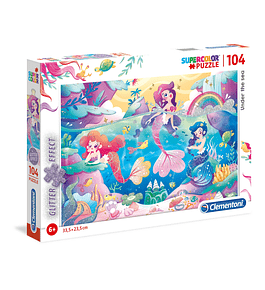 Puzzle Glitter 104 pçs - Sereias