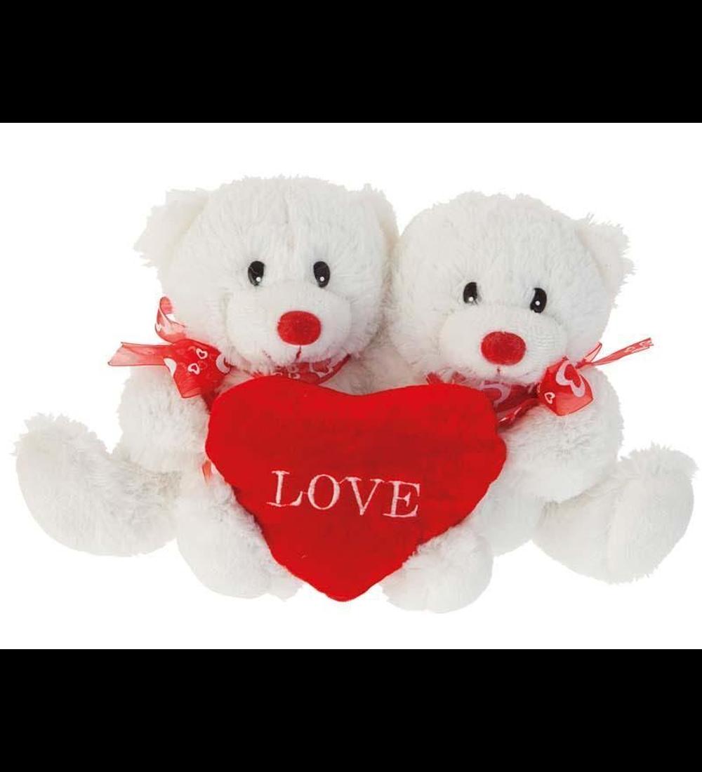 Conj. 2 Ursos com Coração 28cm