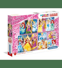 Puzzle 20 + 60 + 100 + 180 pçs - Princesas