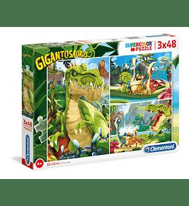 Puzzle 3x48 pçs - Gigantosaurus