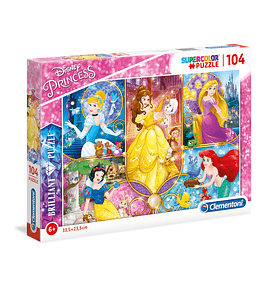 Puzzle Brilliant 104 pçs - Disney Princess