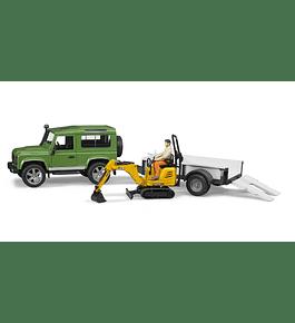 Land Rover Defender com Atrelado e Micro Escavadora JCB