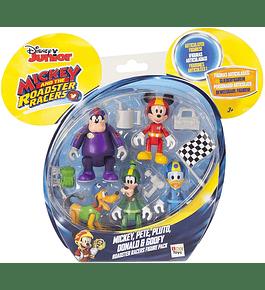 Pack 5 Figuras - Mickey, Pete, Pluto, Donald e Pateta