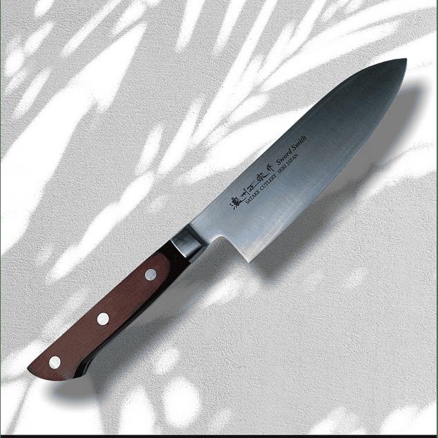SATAKE Profesional mango pakka wood Santoku  knife 17 cms