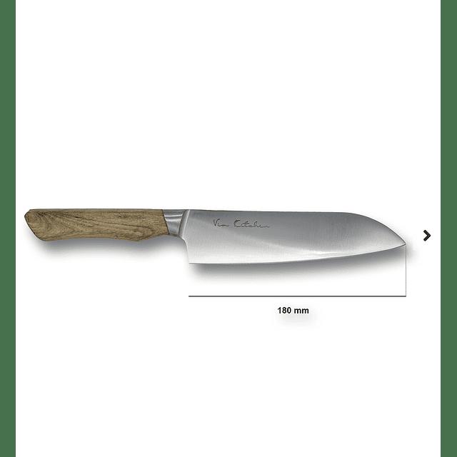 "Satake Línea Via Kitchen - Santoku ""wood handle medium color"" - 18 cm"
