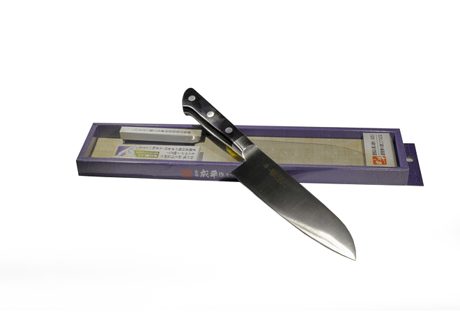 NARIHIRA #8000 MOLYBDENUM Steel With Bolster, SANTOKU, 165MM